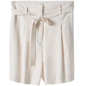 Massimo Dutti high waisted flowing shorts Ivory